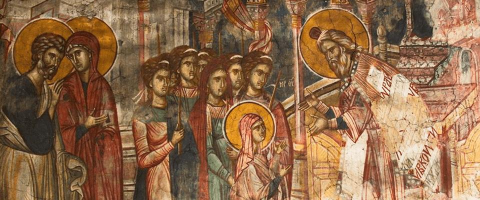 Фрагмент фрески Введения во храм Пресвятой Богородицы монастыря Высокие Дечаны (Сербия), XIV век.